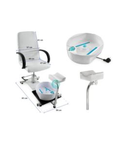 Καρέκλα pedicure με υδρομασάζ και υποπόδιο με ρυθμιζόμενο ύψος