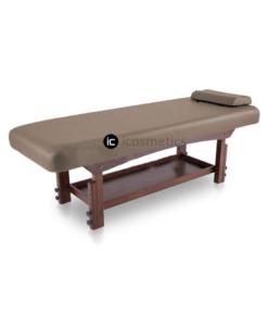 Κρεβάτι Spa με ξύλινη βάση wenge χρώματος μινκ